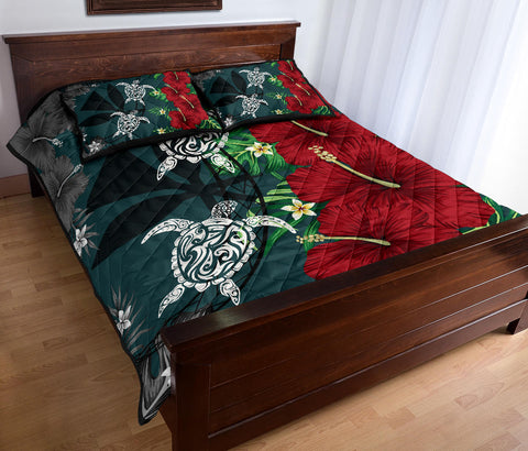 Hawaii Map Turtle Hibiscus Plumeria Polynesian - Quilt Bed Set AH J2