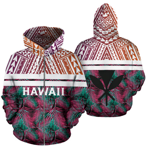 Image of Hawaii Summer Tropical Polynesian Kanaka Zip Hoodie