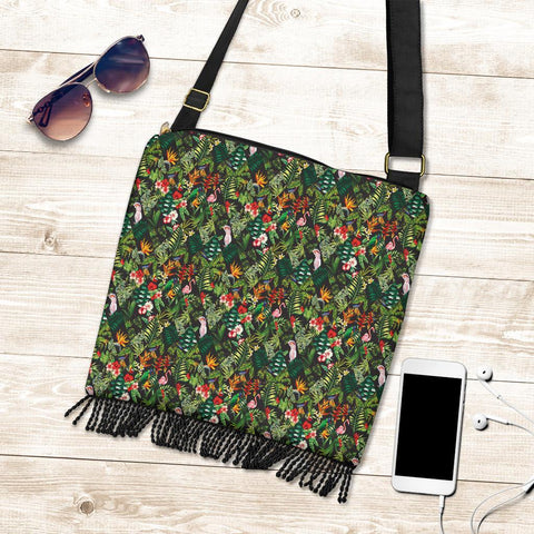 Image of Hawaii Tropical Flamingo Hibiscus Crossbody Boho Handbag - AH - J71 - Alohawaii