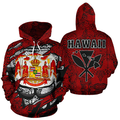 Image of Polynesian Kanaka Maoli Royal Coat Of Arms Hawaii Hoodie Red - AH - J1 - Alohawaii