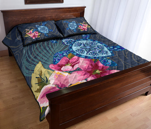 Hawaii Turtle Hibiscus Quilt Bed Set - LH Style - J3