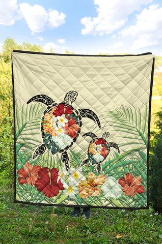 Hawaii Turtle Flowers Coconut Tree Leaf Premium Quilt - AH - J4 - Alohawaii