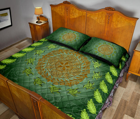Hawaii Tropical Pattern Turtle Polynesian Quilt Bed Set - AH