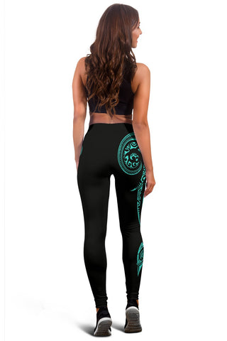 Image of Hawaii State Tattoo Swirly Turquoise Polynesian Women's Leggings - AH - JG1