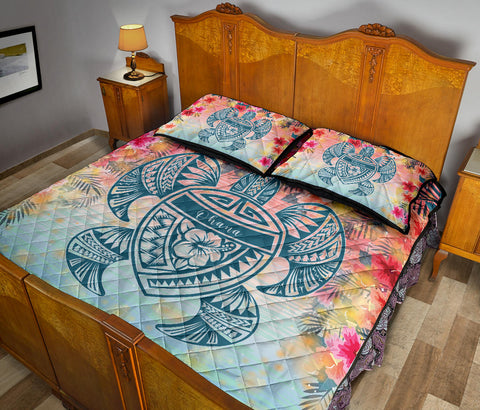 Hawaii Turtle Ohana Stary Night Hibiscus Quilt Bed Set - AH - J4