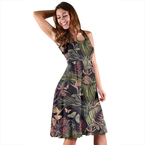 Hawaii Palm Leaves, Tropical Flowers Midi Dress   - AH - J71 - Alohawaii