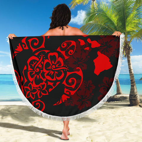 Image of Turtle Hibiscus Map Red Beach Blanket - AH J4 - Alohawaii