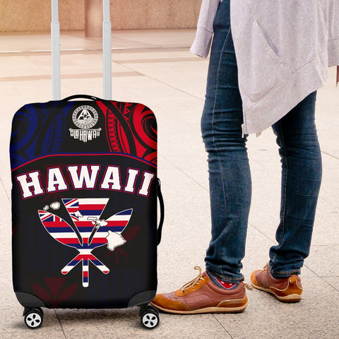 Hawaiian Kanaka Luggage Covers Flag Nation Black Demodern AH J1
