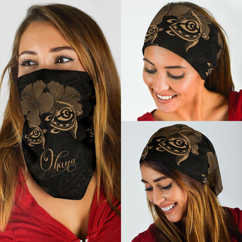 Image of Hawaii Turtle Ohana Hibiscus Polynesian Bandana 3-Pack - Unique Style Gold - AH - J4 - Alohawaii