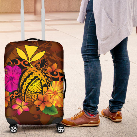 Hawaii Turtle Tribal Map Hibiscus Plumeria Luggage Covers - AH J9