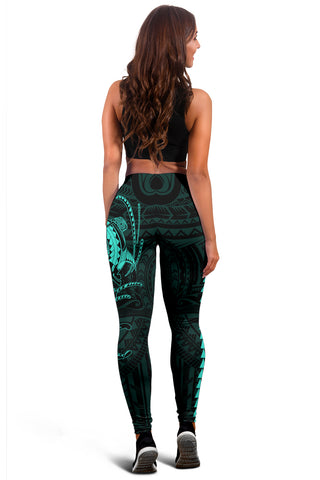 Hawaii Turtle Shark Polynesian Leggings - Turquoise - AH J4