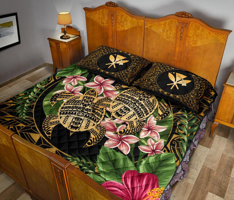 Alohawaii Quilt Bed Set - Turtle Strong Pattern Hibiscus Plumeria Art AH J1