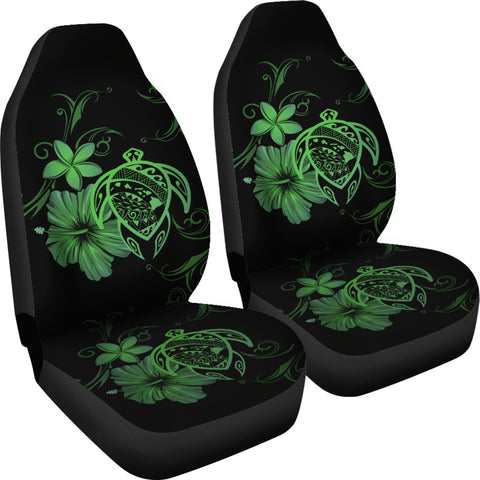 Hawaii Turtle Hibiscus Poly Green Car Seat Covers - AH - J4