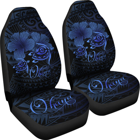 Image of Hawaii Turtle Ohana Hibiscus Poly Car Seat Covers - Turquoise - AH J4 - Alohawaii
