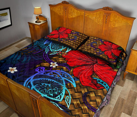 Hawaii Lauhala Hibiscus Polynesian Tropical Blue Quilt Bed Set - Wake Style - AH - J4