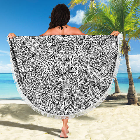 Image of Polynesian Beach Blanket White And Black - AH - J1