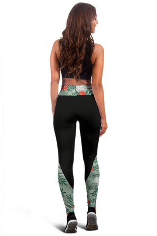 Hawaii Tropical Palm And Hibiscus Red Leggings - AH J9 - Alohawaii
