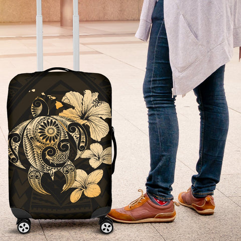 Hibiscus Plumeria Mix Polynesian Gold Turtle Luggage Covers - AH - J1