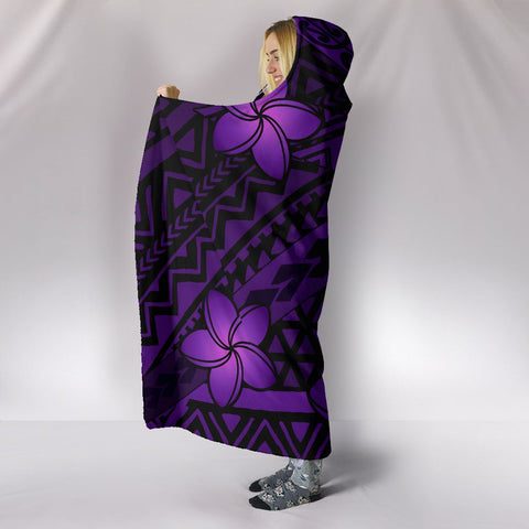 Hawaii Mix Polynesian Turtle Plumeria Hooded Blanket - AH - Nick Style - Purple - J5