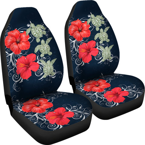 Hawaii Deep Blue Hibiscus Turtle Car Seat Covers - AH - Mike Style - J5