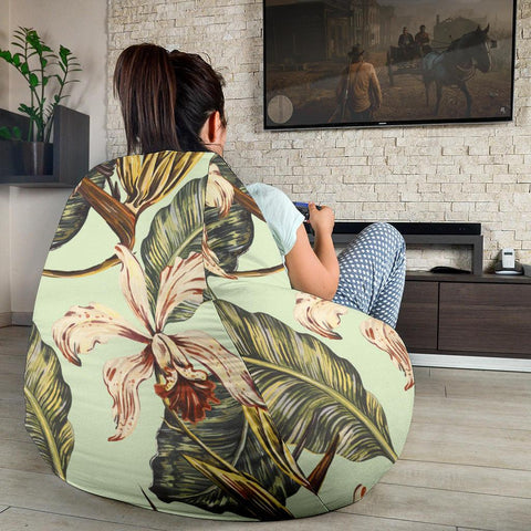 Image of Hawaii Vintage Tropical Jungle Leaves Orchid Bird  Bean Bag Chair - AH - J71 - Alohawaii