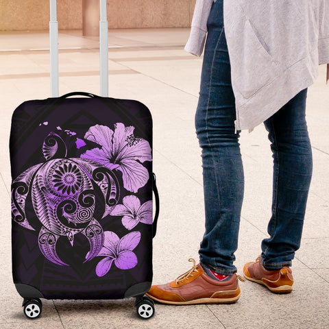 Hibiscus Plumeria Mix Polynesian Violet Turtle Luggage Covers - AH - J1