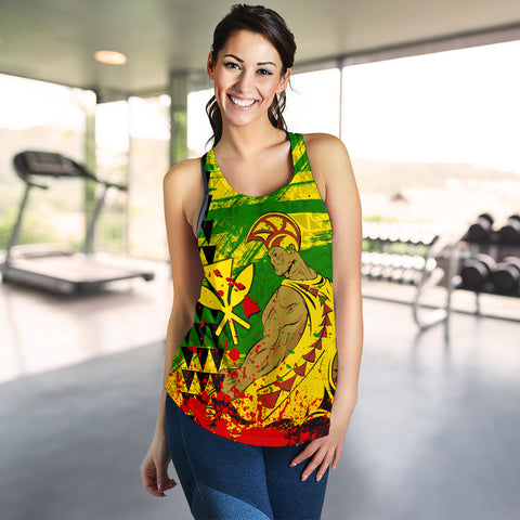 Image of Hawaii Reggae Kanaka Maoli Warrior Spearhead Women's Racerback Tank - AH - J5
