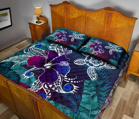 Alohawaii Quilt Bed Set - Hawaii Turtle Flowers And Palms Retro - AH J8 - Alohawaii