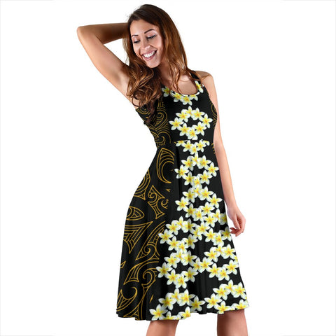 Hawaii Plumeria Polynesian - Hawaiian Midi Dress - Curtis Style - AH - J2