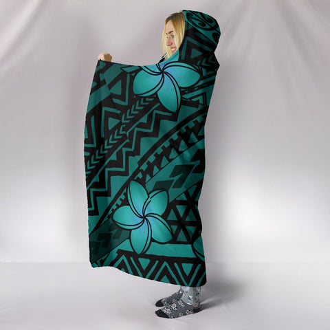 Hawaii Mix Polynesian Turtle Plumeria Hooded Blanket - AH - Nick Style - Turquoise - J5
