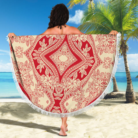 Polynesian Beach Blanket Red And Yellow - AH - J1