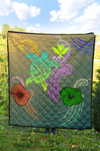 Hawaii Turtle Polynesian Premium Quilt - Tag Style - AH - J4