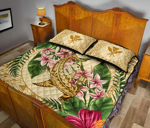 Image of Alohawaii Quilt Bed Set - Hammerhead Shark Quilt Bed Set Strong Pattern Hibiscus Plumeria AH J1