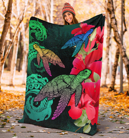 Image of Hawaii Turtle Wave Hibiscus Premium Blanket - Unia Style - AH - J4