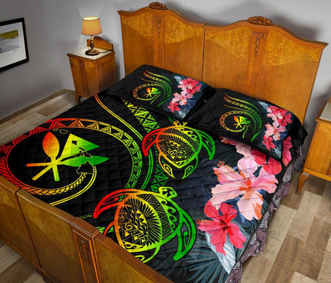 Hawaii Turtle Polynesian Tropical Quilt Bed Set - Cora Style Reggae - AH - J4 - Alohawaii