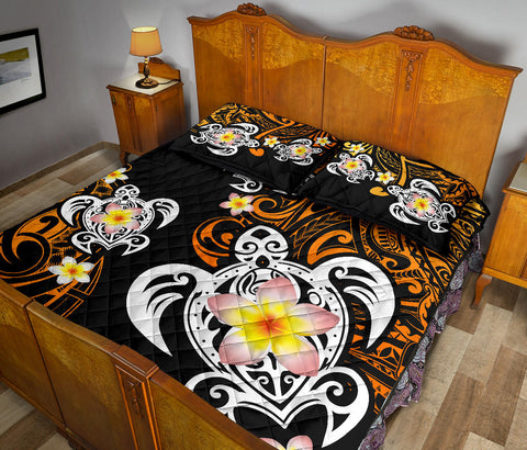 Image of Hawaii Turtle Plumeria Polynesian Quilt Bed Set - Hete Style - AH - J4