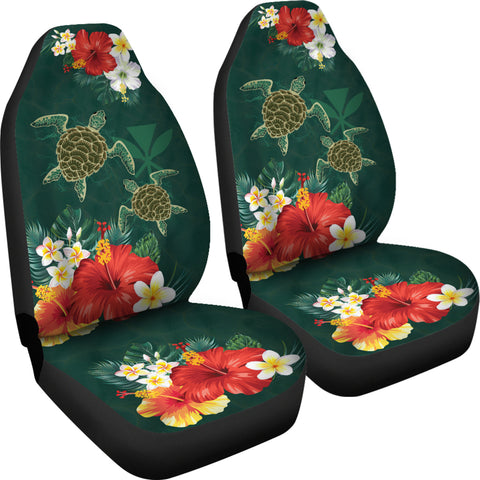 Image of Hawaii Sea Turtle Hibiscus Plumeria Car Set Cover - AH - J4 - Alohawaii