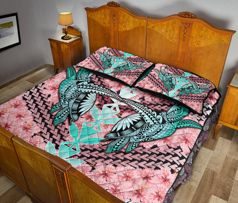 Hawaii Turtle Kanaka Hibiscus Tropical Polynesian Quilt Bed Set - J3