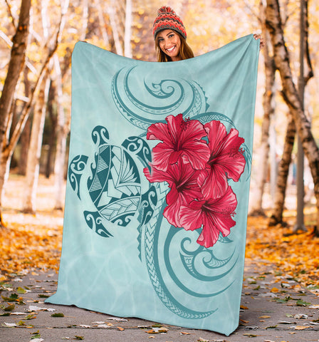 Image of Hawaii Polynesian Turtle Hibiscus Blue Premium Blanket - Bless Style - AH - J4