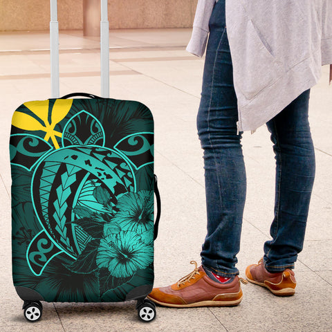 Hawaii Hibiscus Luggage Cover - Harold Turtle - Turquoise - AH J9