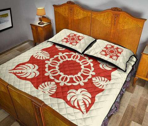 Hawaiian Quilt Bed Set Royal Pattern - White Mix Red - AH - J2
