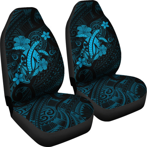Image of Hawaii Turtle Flower Polynesian Car Seat Covers - Turquoise - AH J4