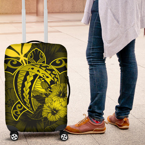 Hawaii Hibiscus Luggage Cover - Harold Turtle - Yellow - AH J9