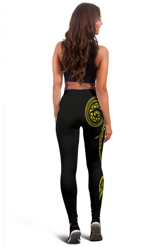 Image of Hawaii State Tattoo Swirly Yellow Polynesian Women's Leggings - AH - JG1