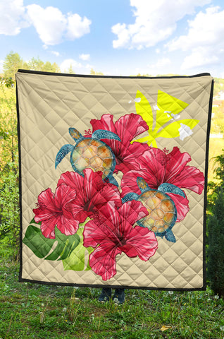 Hawaii Turtle Hibiscus Beige Simple Style - Premium Quilt AH J2