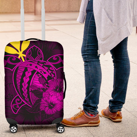 Hawaii Hibiscus Luggage Cover - Harold Turtle - Pink - AH J9