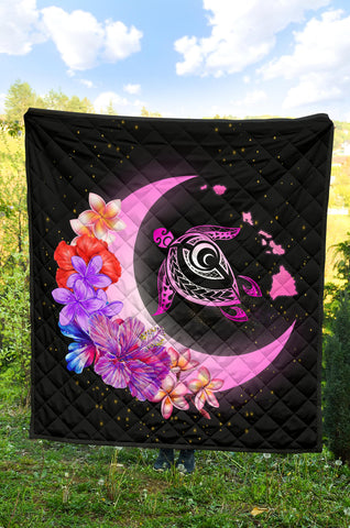 Hawaii Map Moon Star Turtle Plumeria Hibiscus Premium Quilt - AH - J5