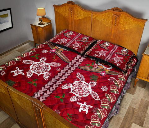 Hawaii Turtle Santa Claus Pattern Christmas Quilt Bed Set - AH - J3
