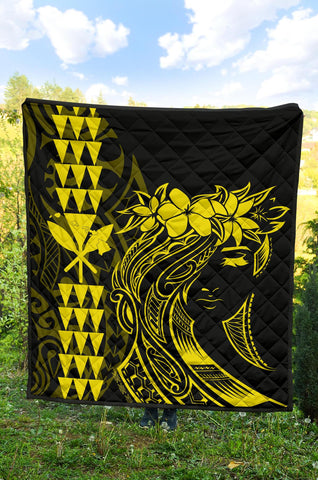 Hawaii Map Kanaka Polynesian Hula Girl Premium Quilt - Yellow - AH - J5