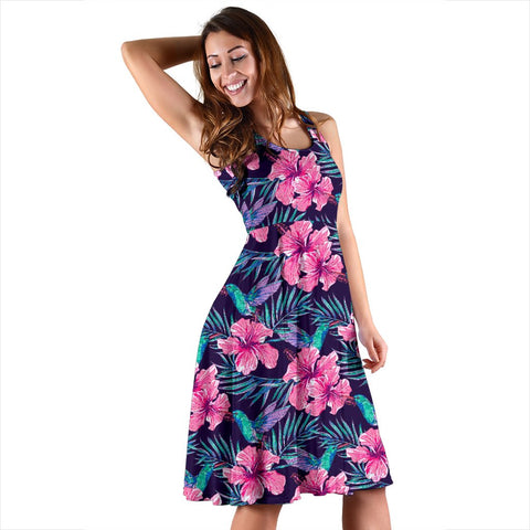 Hawaii Tropical Flowers With Hummingbirds Palm Leaves Midi Dress   - AH - J71